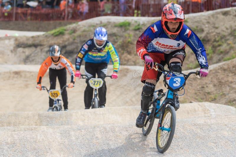 De drie jonge raceauto's op de fiets stock afbeeldingen