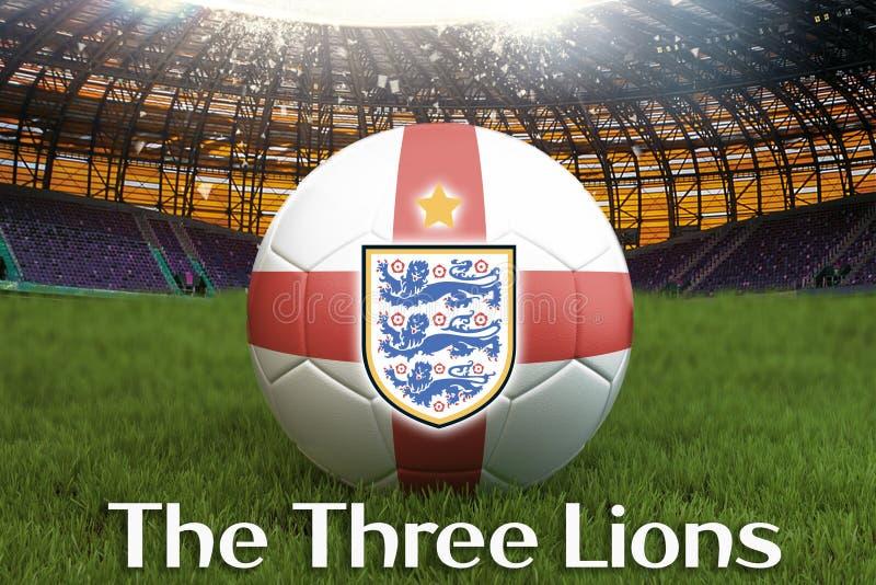 De Drie Leeuwentekst op de bal van het de voetbalteam van Engeland op grote stadionachtergrond met van het het Teamembleem van En stock foto's