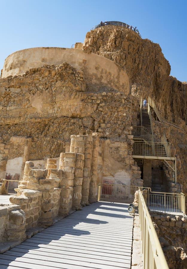 De Drie Niveaus van het Noordelijke Paleis in Masada in Israël royalty-vrije stock foto's