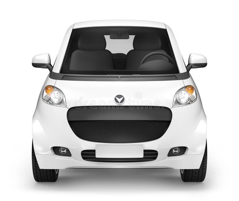 De Driedimensionele Witte Sedan van Front View Studio Shot Of royalty-vrije stock fotografie