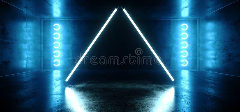 De driehoek Gestalte gegeven Neon het Gloeien Blauwe Trillende Virtuele Donkere Lege Grunge Bezinning Concreet Hall Room Stage Li royalty-vrije illustratie