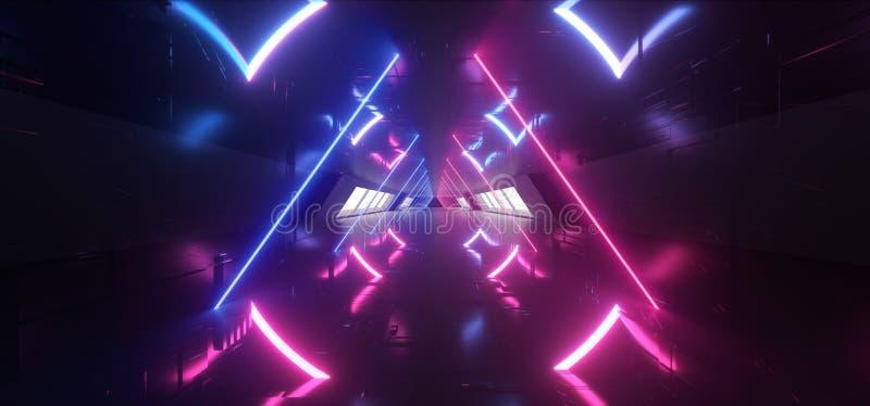 De driehoek Gevormde van het het Ruimteschipmoederschip van FI van Sc.i van de Neon Gloeiende Laser Purpere Blauwe Futuristische  vector illustratie