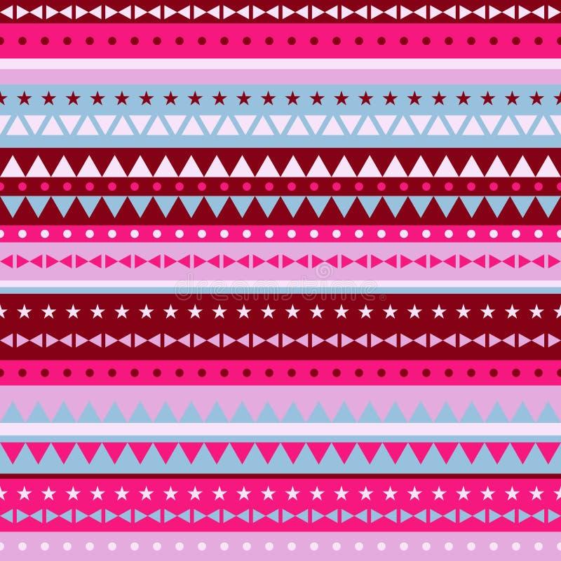 De driehoeken en de sterren van het grenspatroon - rood roze royalty-vrije illustratie