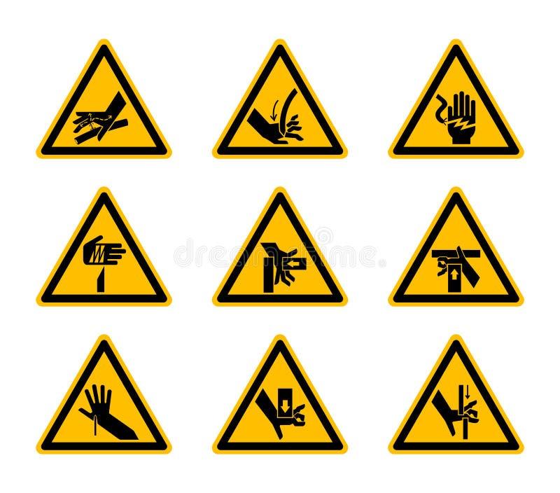 De driehoekige de Symbolenetiketten van het Waarschuwingsgevaar isoleren op Witte Achtergrond, Vectorillustratie royalty-vrije illustratie