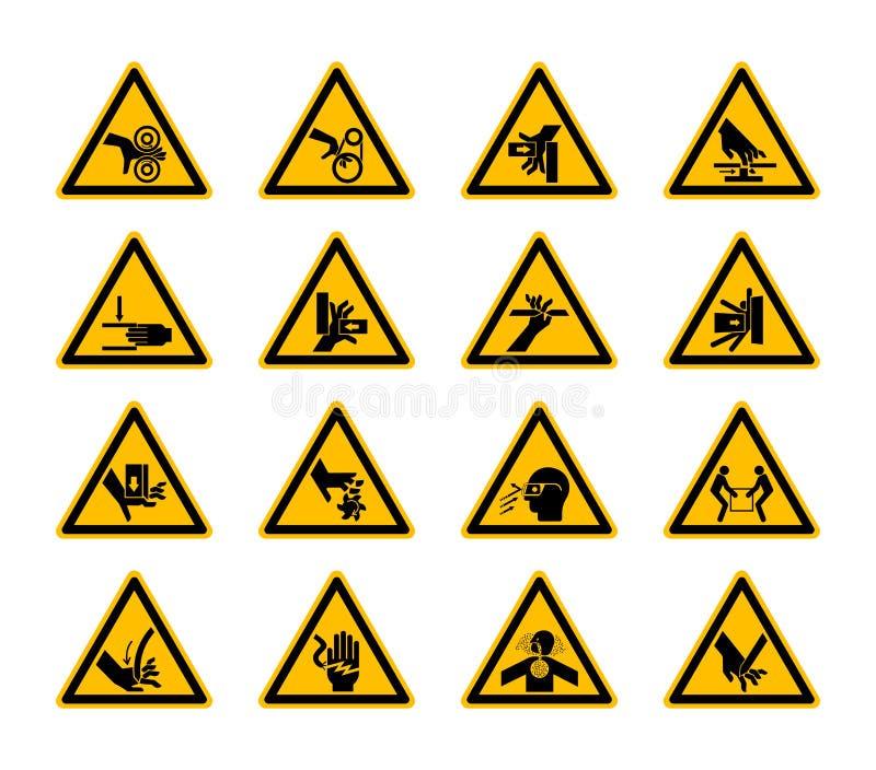 De driehoekige de Symbolenetiketten van het Waarschuwingsgevaar isoleren op Witte Achtergrond, Vectorillustratie vector illustratie