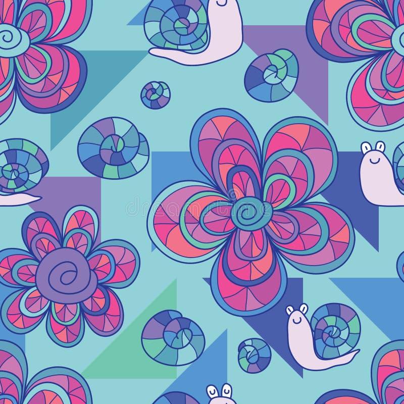 De driehoeks naadloos patroon van de bloemslak stock illustratie
