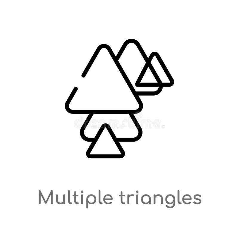 de driehoeks vectorpictogram van overzichts veelvoudig driehoeken de ge?soleerde zwarte eenvoudige illustratie van het lijnelemen stock illustratie
