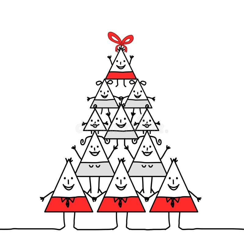 De driehoeksfamilie van Kerstmis stock illustratie