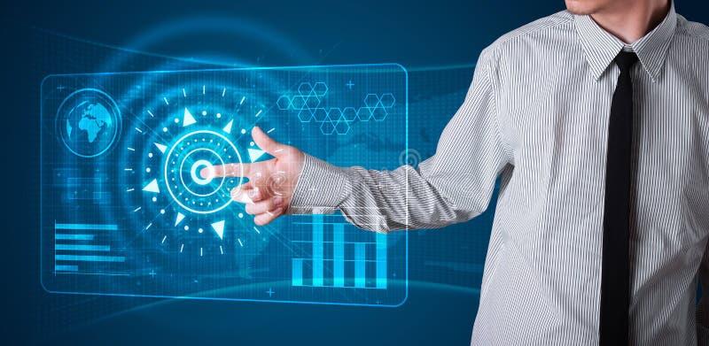 De dringende hoogte van de zakenman - technologietype van moderne knopen royalty-vrije stock afbeeldingen