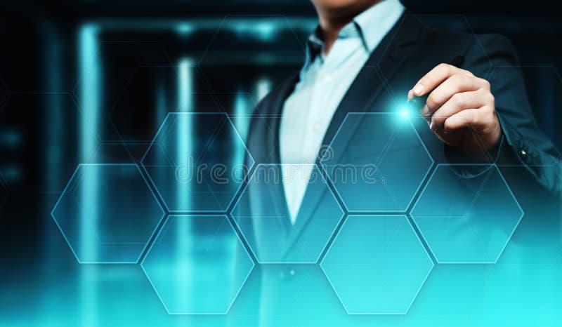 De dringende knoop van de zakenman Van bedrijfs Internet van de innovatietechnologie concept Ruimte voor tekst stock fotografie