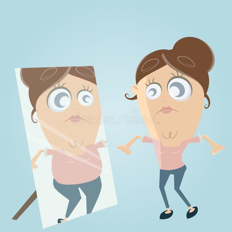 De droevige beeldverhaalvrouw kijkt in de spiegel en denkt zij vet is stock illustratie