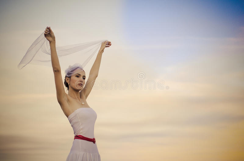 De droevige bruid van Beautyful royalty-vrije stock afbeelding
