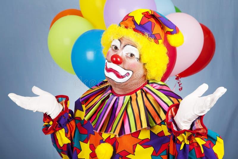 De droevige Clown geeft op royalty-vrije stock foto's