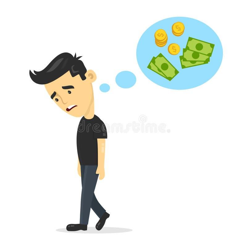 De droevige jonge kerel zonder het werk die, denkt over geld dromen de vector vlakke illustratie van het het karakterontwerp van  royalty-vrije illustratie