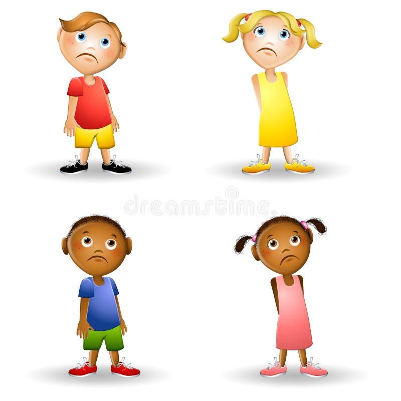 De droevige Kinderen van het Beeldverhaal stock illustratie