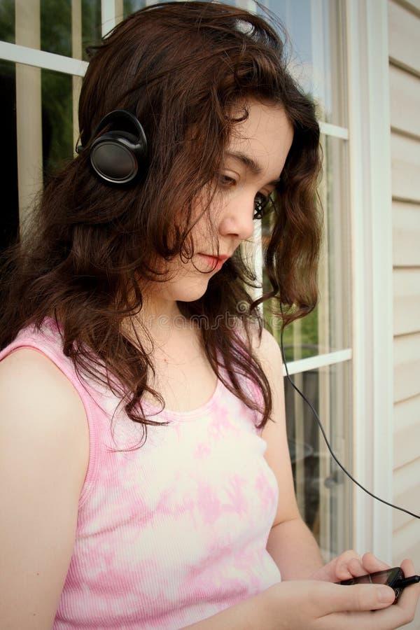 De droevige muziek van de tiener mp3 stock afbeeldingen