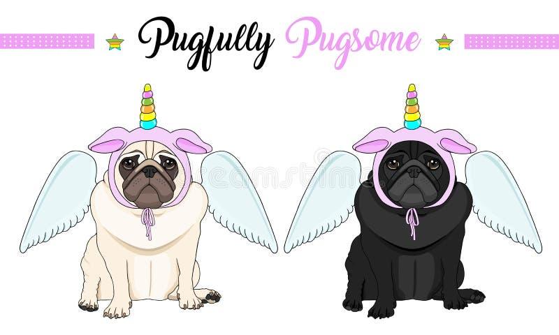de droevige vectorpug zitting die van de puppyhond neer, roze bonnet met eenhoornhoorn dragen met regenboogkleuren en engelenvleu royalty-vrije illustratie