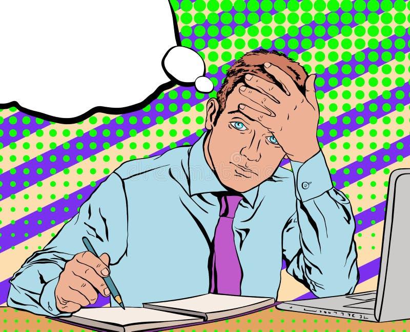 De droevige vermoeide zitting van de bureauwerknemer bij zijn bureau op de achtergrond stock foto