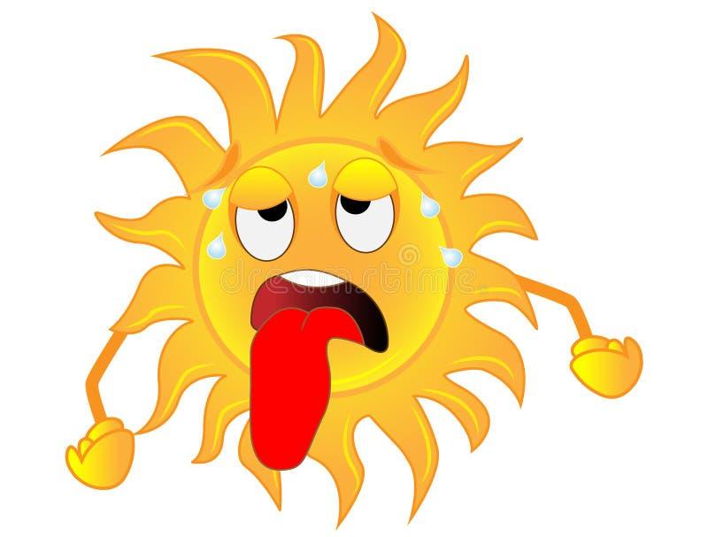 De droevige zon is uitgeput van een hitte royalty-vrije illustratie