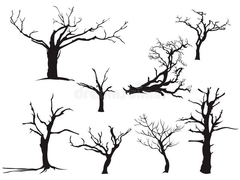 De droge Daling Autumn Black Silhouette van de Boom Dode Droogte royalty-vrije illustratie