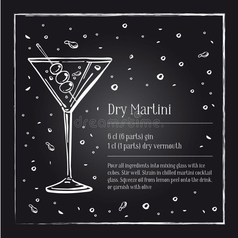 De droge Martini-beschrijving van het cocktailrecept met ingrediënten De vector getrokken illustratie van het schetsoverzicht han royalty-vrije illustratie