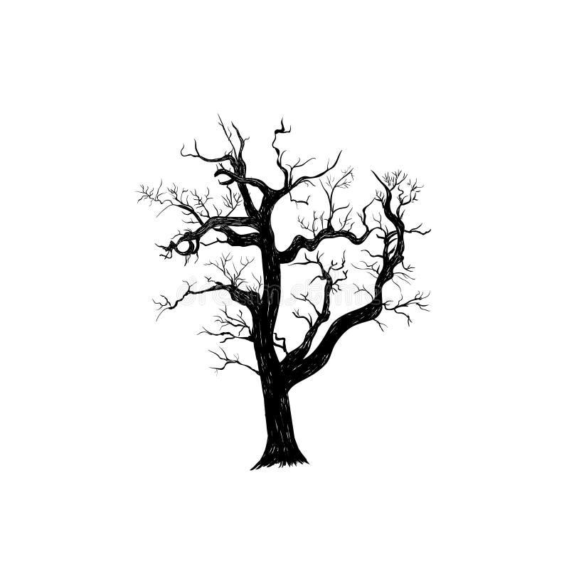 De droge oude boom is vreselijk royalty-vrije illustratie