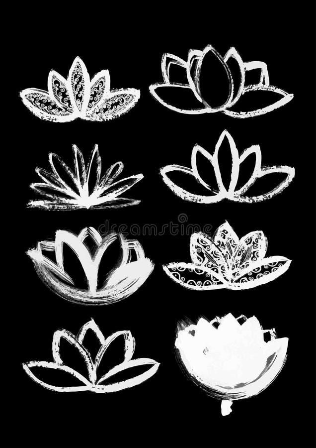 De droge reeks van de borstellotusbloem stock illustratie