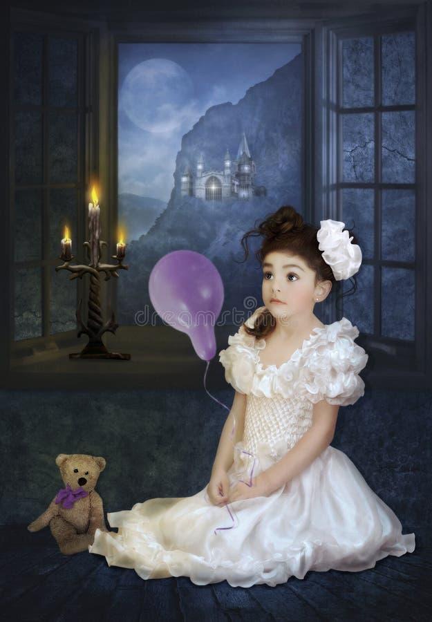 De dromen van een klein meisje royalty-vrije stock foto