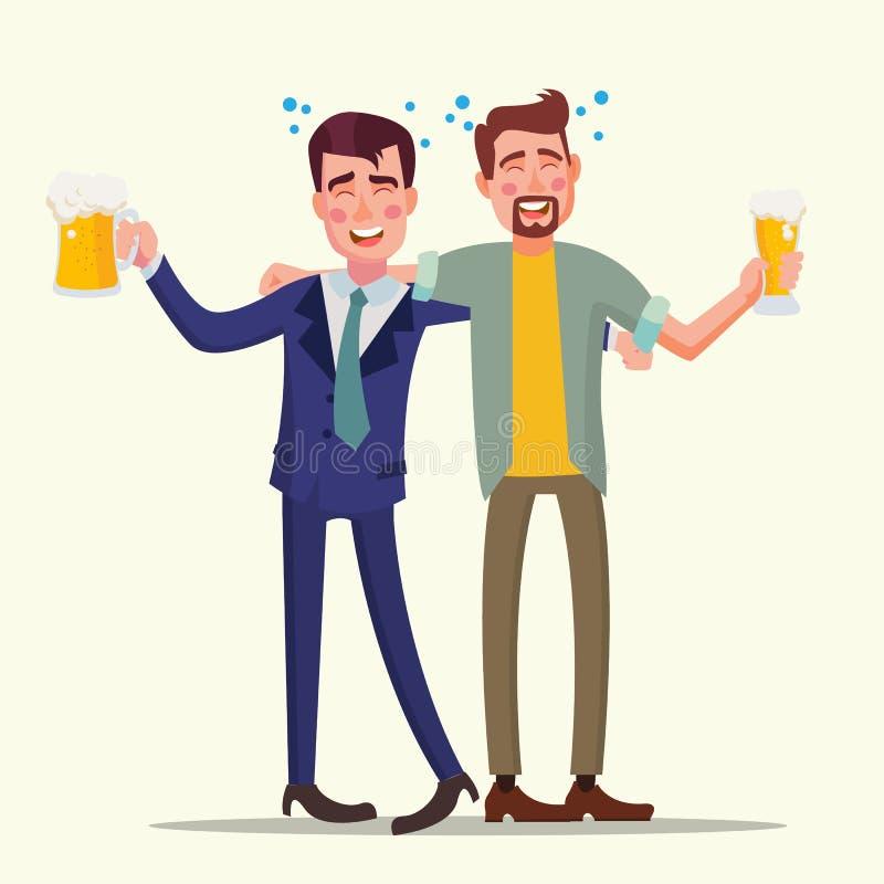 De dronken Vector van de Bureaumens Grappige vrienden Ontspannend concept Commerciële partij royalty-vrije illustratie