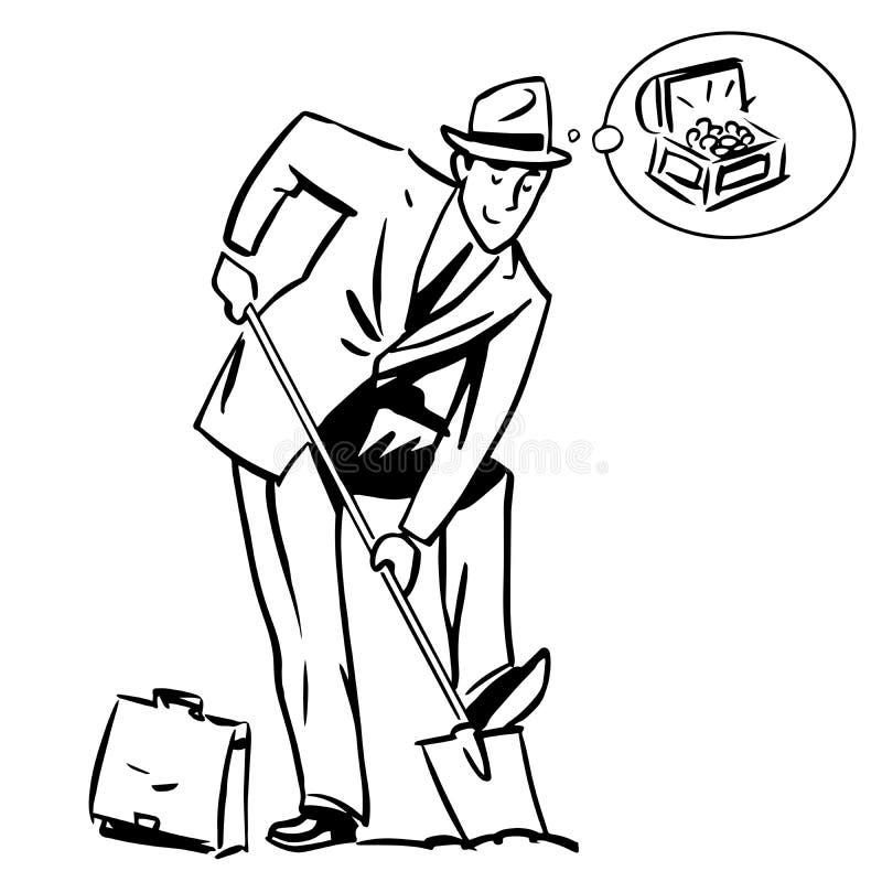De droom van de bedrijfs schatjager financiënconcept vector illustratie