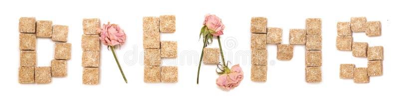 De droom van de tekst van rozen en suiker. Reeks: zoete liefde, royalty-vrije stock fotografie
