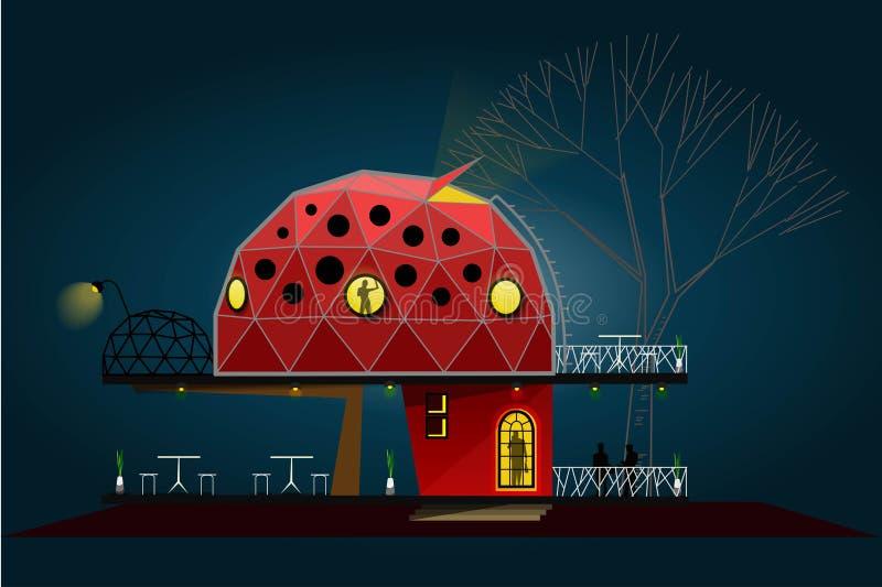 De droomkoffie en het kleine hotel royalty-vrije illustratie