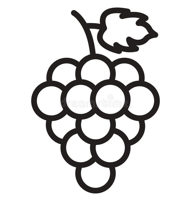 De druiven isoleerden Vectorpictogram dat gemakkelijk kan worden gewijzigd of Druiven Geïsoleerd Vectorpictogram uitgeven dat gem royalty-vrije illustratie