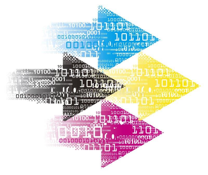 De druk kleurt Pijlen met binaire codes, drukgegevens stock illustratie
