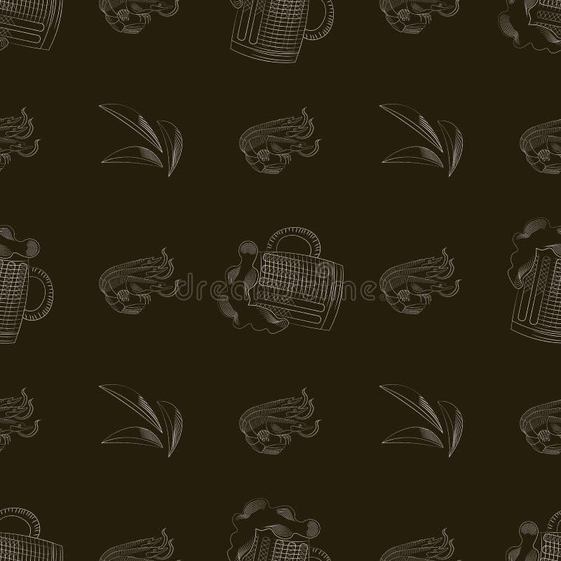 De druk van de bierbar Mok bier, Garnalen, chips naadloos patroon royalty-vrije illustratie