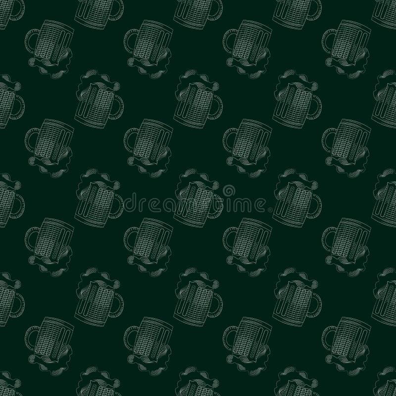De druk van de bierbar naadloos patroon met mok bier vector illustratie