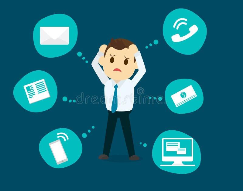 De druk van de zakenmanspanning, bedrijfs geestelijke kwesties, concept vector illustratie