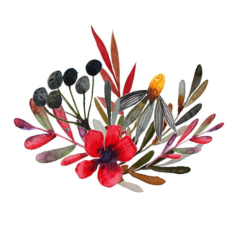 De druk van de gebiedsbloem met rode bloemen royalty-vrije illustratie