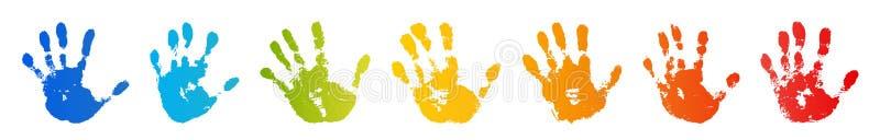 De druk van de handregenboog op witte achtergrond wordt geïsoleerd die Kleurenkind handprint De creatieve verf overhandigt drukke vector illustratie