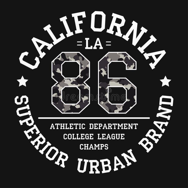 De druk van het het T-stukoverhemd van Californië met slogan en camouflagetextuur Het grafische ontwerp van Los Angeles voor t-sh vector illustratie