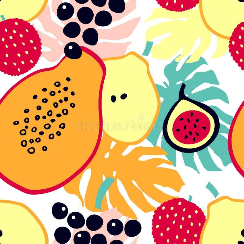 De druk van het de zomerbeeldverhaal met tropisch fruit - litchi, papaja, peer, fig., druiven vector illustratie