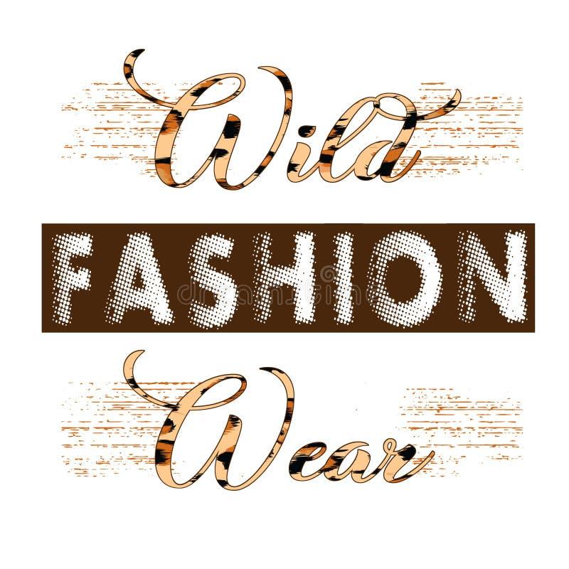 De in druk van de maniert-shirt voor het textielwit van het het ontwerppatroon van de maniertekst stock illustratie
