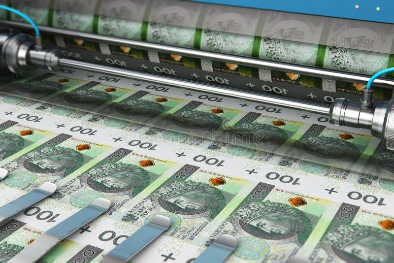 De druk van 100 Poolse zloty het geldbankbiljetten van PLN royalty-vrije illustratie