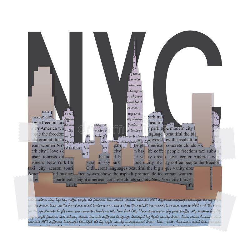 De druk van de de t-shirtmanier van New York royalty-vrije illustratie