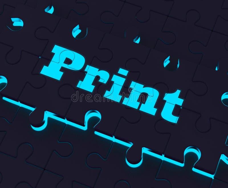 De druksleutel toont de Printout van Printerprinting copying or vector illustratie