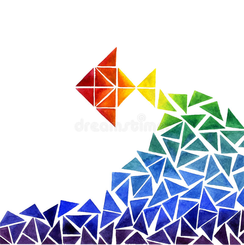 De drukvissen van waterverf abstracte driehoeken stock afbeeldingen
