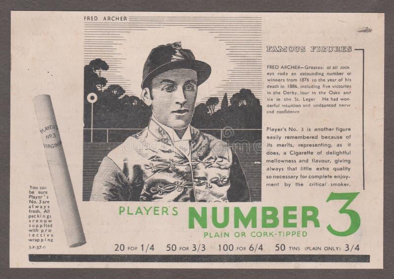 ` 1930 de DT00005 FRED ARCHER Jockey - de CA s - ` s NÚMERO 3 do JOGADOR - cópia de Adverstising do cigarro fotografia de stock
