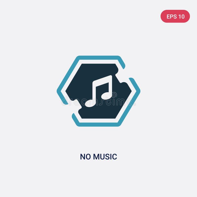 De duas cores nenhum ícone do vetor da música do conceito dos sinais azul isolado nenhum símbolo do sinal do vetor da música pode ilustração stock