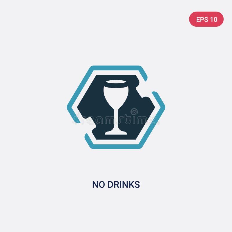 De duas cores nenhum ícone do vetor das bebidas do conceito dos sinais o azul isolado nenhum símbolo do sinal do vetor das bebida ilustração do vetor