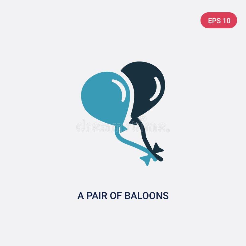 De duas cores um par de baloons do ícone do vetor dos corações do conceito das formas azul isolado um pares de símbolo do sinal d ilustração royalty free